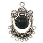 1 x Tibetaans zilveren bedel hanger met zwarte natuursteen