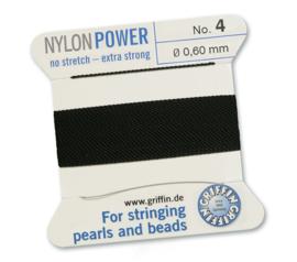 Griffin Nylon Power no stretch - extra strong 2 meter met naald  No: 4 Ø 0,60mm zwart