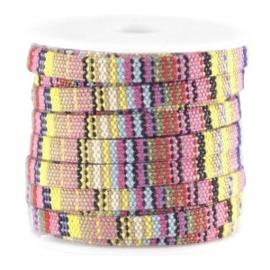 20 cm Trendy gestikt koord Aztec plat 5mm multicolor geel