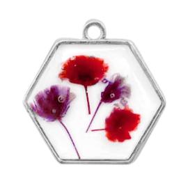 1 x  Bedels met gedroogde bloemetjes hexagon Silver-red