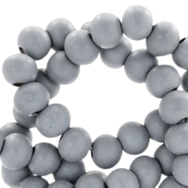30 x Houten kralen rond 8 mm Cool grey 8mm