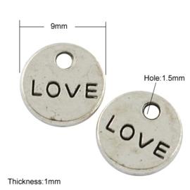 """10 x Tibetaans zilveren bedeltje """"love"""" 9 x 1mm gat: 1,5mm"""