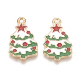 2 x Tibetaans zilveren hanger kerstboom 30 x 17,5x 1,5mm, gat: 2mm