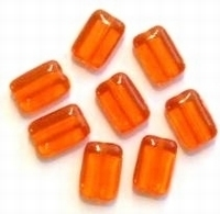 10x Glaskraal platte rechthoek oranje 12 mm
