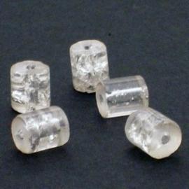 30 stuks crackle glas kralen cilinder vorm 7 x 8mm transparant