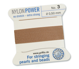 Nylon Power no stretch - extra strong 2 meter met naald  No: 3 Ø 0,50mm beige