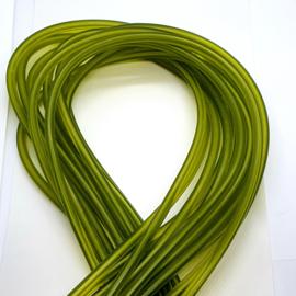 100 cm hol Rubber DQ koord 5mm per meter geknipt transparant mos groen