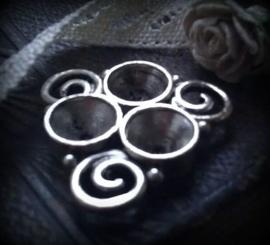 Per stuk antiek zilveren metalen tussenzetsel spiralen 26 mm