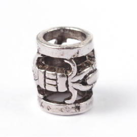Tibetaans zilveren European Jewelry bedel  7 x 8mm Gat: 5mm