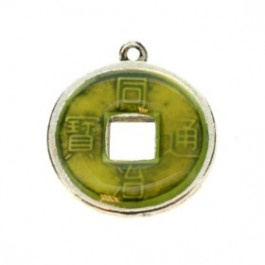 2 x Chinese geluksmunt emaille 20 x 23mm oogje: 1,5mm Lime