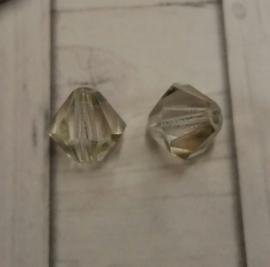 10 x preciosa kristal bicone transparant heel licht groene glans 5,5/6 mm Gat: 1 mm