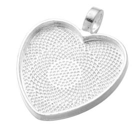 Houder hart zilver kleur binnenzijde c.a. 25 x 26mm