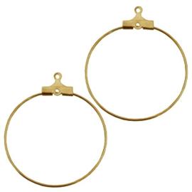 2 stuks  prachtige metalen goudkleurige creolen 25x25mm oogje 1mm