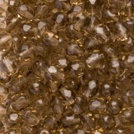 15 x  ronde Tsjechië kristal facet kraal 6mm kleur: bruin Gat c.a.: 1 mm