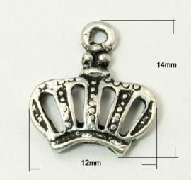 10 stuks Tibetaans zilveren kroontje 12 x 14 x 2.5mm, gat 1mm