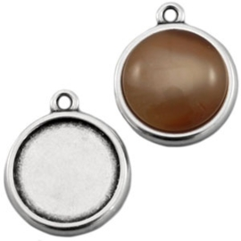 Houder T:  Cabochon-Camée houder Metalen Ibiza cabochon setting  Zilver (zonder steen) Binnenzijde 12mm