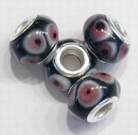 Per stuk Glaskraal European-style zwart met roze rondjes 14 mm