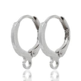 2 stuks DQ metaal sluitbare oorhangers met oog antiek Zilver (nikkelvrij)  ca. 11.5mm (Ø1mm)