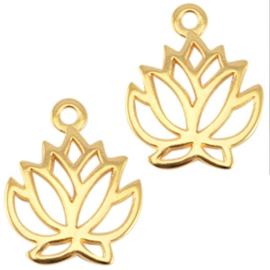 1 x DQ metaal bedel lotus Goud (nikkelvrij) 19mm
