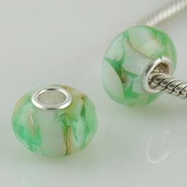 Hard groene schelp 925 Sterling Zilver met Muranoglas