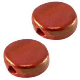 1 x DQ Griekse keramiek kralen 13mm rond plat Red/gold ca. 13 mm Ø 2.5 mm