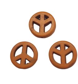 3 x  syntetische howlite oranje peace kraal 15 x 4mm gat 1,5mm