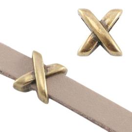 """2 x DQ metaal schuiver """"X""""  Ø5.2x2.2mm Antiek brons"""