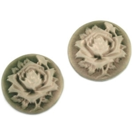 2 x Camee rond Donker groen / parelmoer Special Edition 20mm