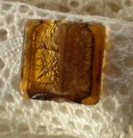 Zilver folie glaskraal vierkant 18 x 5,5mm donker bruin