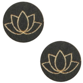 1 x Houten cabochon lotus 12mm Black