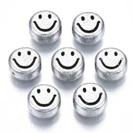 20 x Smiley kralen van acryl 7 x 3,5mm gat: 1,5mm antiek zilver