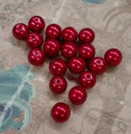 30x prachtige glasparels 8mm Gat: 1mm rood
