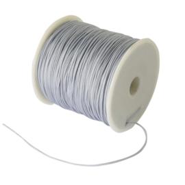 10 meter gevlochten nylon koord, imitatie zijden draad 1mm  grey