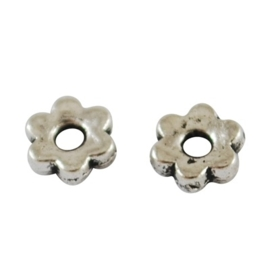 25 stuks tibetaans zilveren tussenzetsel spacer kraal  5 x 5 x 2mm gat: 2mm