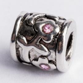 Be Charmed kraal zilver met een rhodium laag (nikkelvrij) c.a.10x 9mm groot gat: 4mm