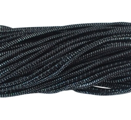 1 meter rond elastisch koord van rubber voorzien van een laagje stof 3mm zwart met zilverdraad