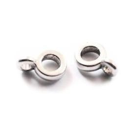 3x DQ Metaal Ringetje met oog 10x6 mm Antiek Zilver  3 st Ø 3 mm