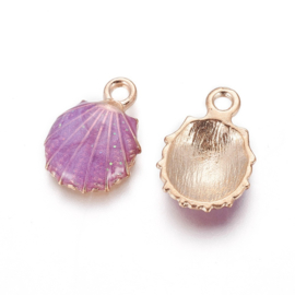 2 x Metalen bedels shell light gold purple ca. 19 x13 x 4mm oogje 1,4mm