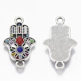 1 prachtige Hamsa Hand van Fatima met resin emaille en edelsteen 23,5 x 14 x 3mm, gat: 1.8mm