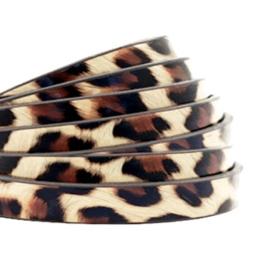 1 meter plat 5mm imi leer leopard print Beige