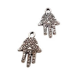 5x  Basic quality metalen bedels hamsa hand van Fatima  21 x 14mm Antiek zilver oogje: 1,5mm