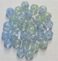 25 Stuks Glaskraal rond crackle blauw/groen 6 mm