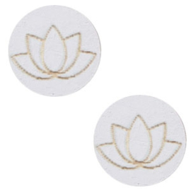 1 x Houten cabochon lotus 12mm Grey