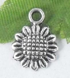 10 x Tibetaans zilveren zonnebloem bedel 12 x 9 mm