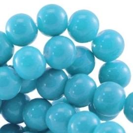 15 stuks Keramische Glaskralen 8mm  Cyaan blauw