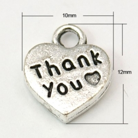 "10 stuks tibetaans zilveren ""Thank you"" 12 x 10 x 2mm oogje: 2mm"