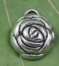 10x Prachtige Tibetaans zilveren hanger/bedel van een roos 20,5 x 17 x 6mm gat: 1mm