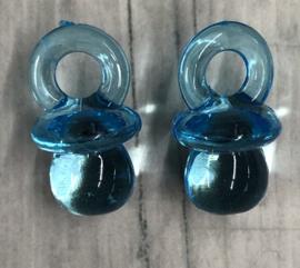 10 stuks lichtblauwe hangers in de vrom van een speentje acryl 21mm gat 5mm