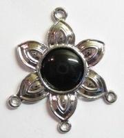 Per stuk  Luxe metalen hanger bloem en 3 oogjes 41 mm zonder steen