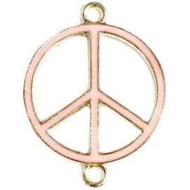Bedel goud 2 ogen peace Zacht roze ca. 29 x 22 mm
